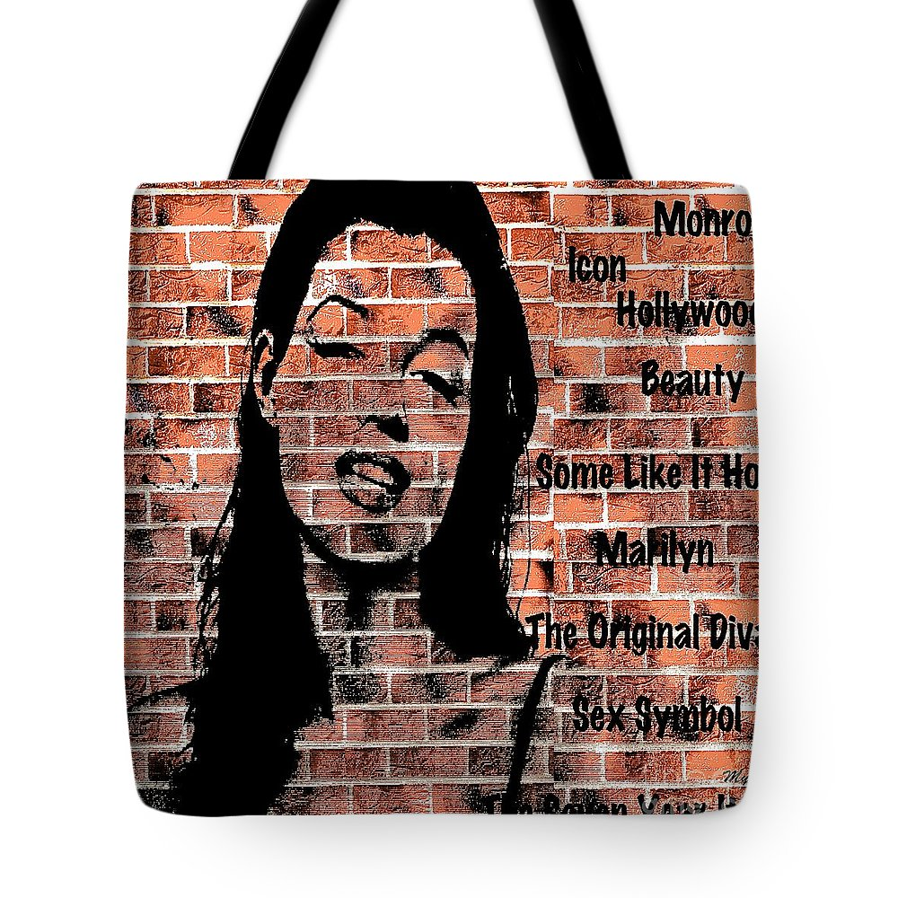 Marilyn Tote Bag featuring the painting Marilyn On Brick by Saundra Myles