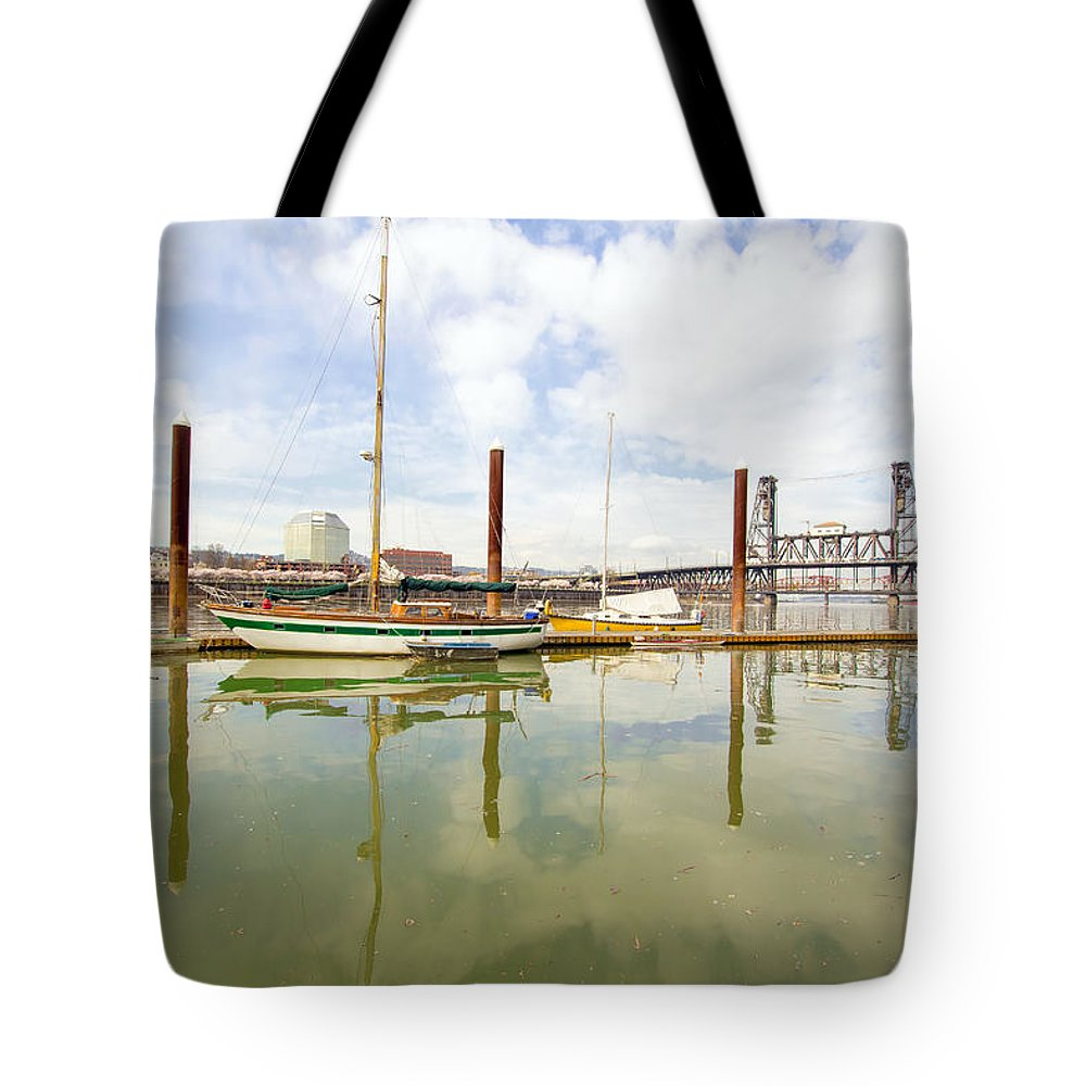 Marina Tote Bag featuring the photograph Marina Along Willamette River In Portland by Jit Lim