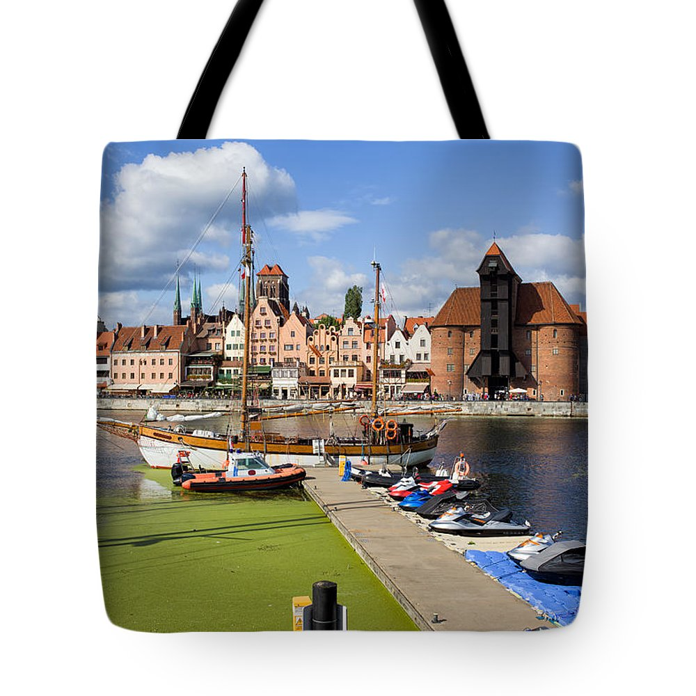 Gdansk Tote Bag featuring the photograph Marina And Old Town Of Gdansk Skyline by Artur Bogacki