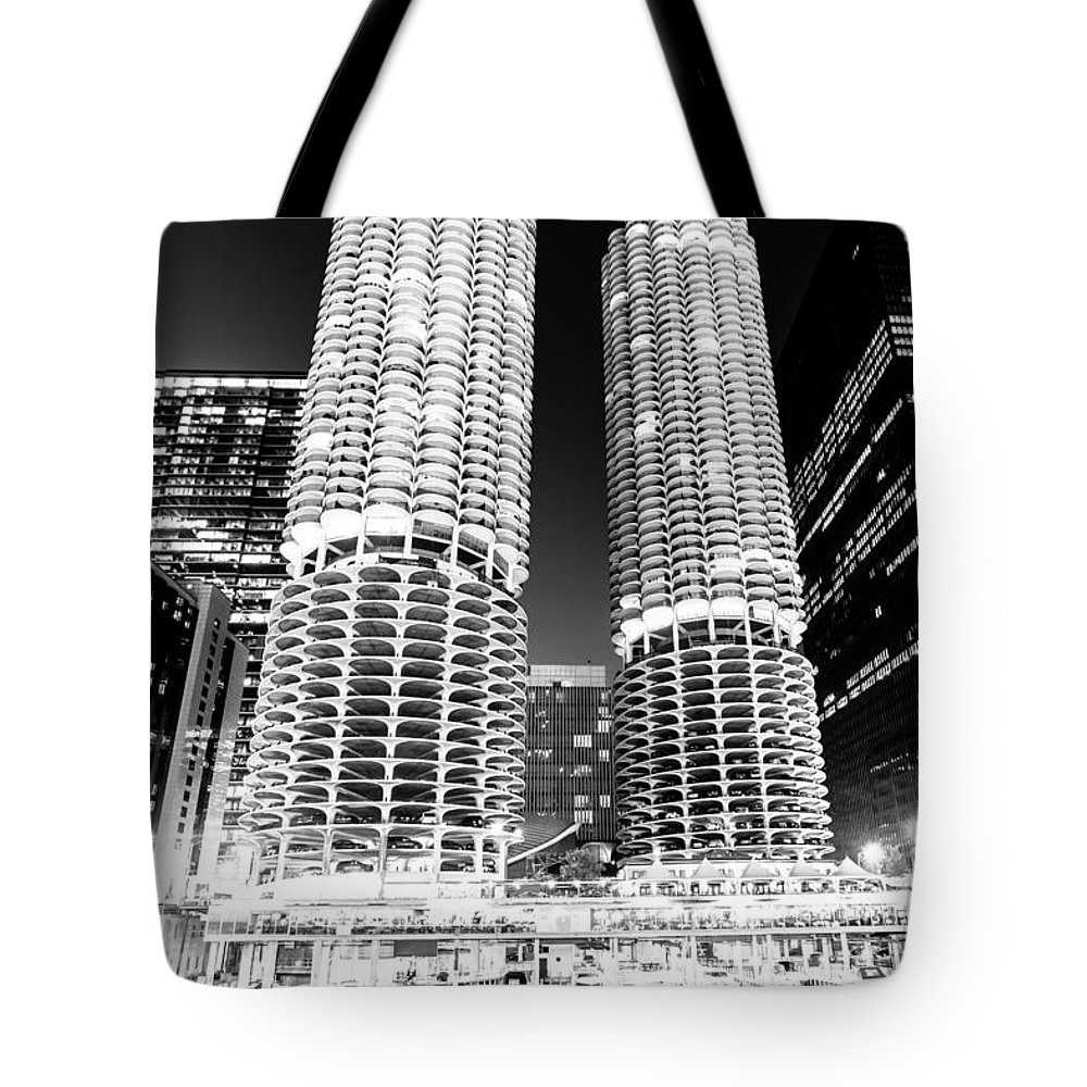 America Tote Bag featuring the photograph Marina City Towers At Night Black And White Picture by Paul Velgos