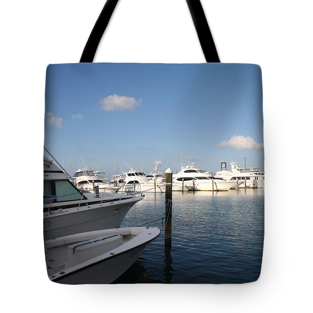 Harbor Tote Bag featuring the photograph Marina Key West - Harbored Fun by Christiane Schulze Art And Photography