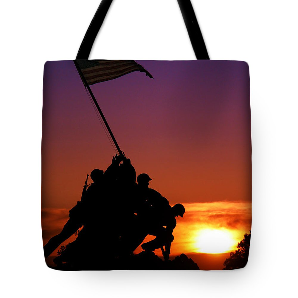 Marine Corps Memorial Tote Bag featuring the photograph Marine Corps Memorial by Mitch Cat