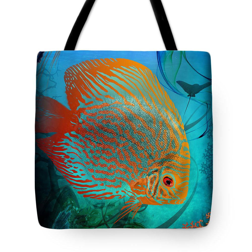 Sea Tote Bag featuring the drawing Marine Parade by Gideon Schutte