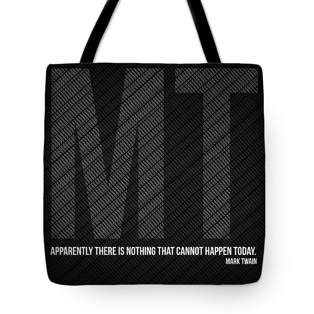 Tote Bag featuring the digital art Mark Twain Quote Poster by Naxart Studio