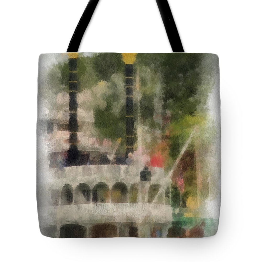 Disney Tote Bag featuring the photograph Mark Twain Riverboat Frontierland Disneyland Vertical Photo Art 01 by Thomas Woolworth