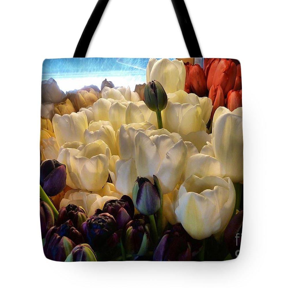 Abstract Tote Bag featuring the photograph Market Flowers by Lauren Leigh Hunter Fine Art Photography