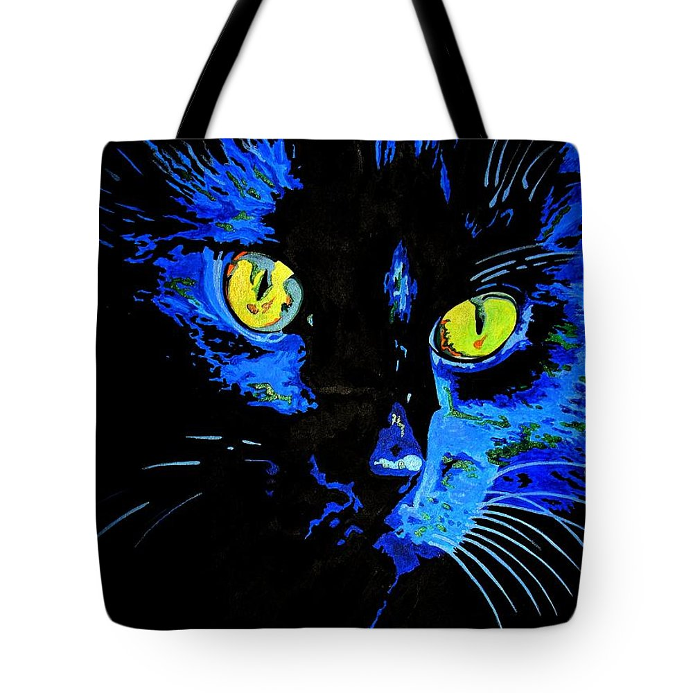 Black Tote Bag featuring the painting Marley At Midnight by Taiche Acrylic Art