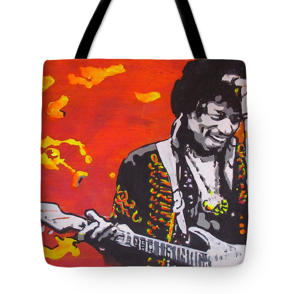 Jimi Hendrix Tote Bag featuring the painting Marmalade Skies by Eric Dee