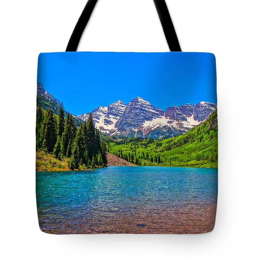 Maroon Bells In Color Tote Bag featuring the photograph Maroon Bells In Color by Dan Sproul