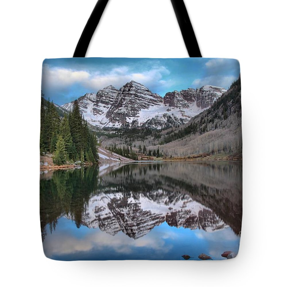 Maroon Bells Tote Bag featuring the photograph Maroon Bells Sunrise by Adam Jewell