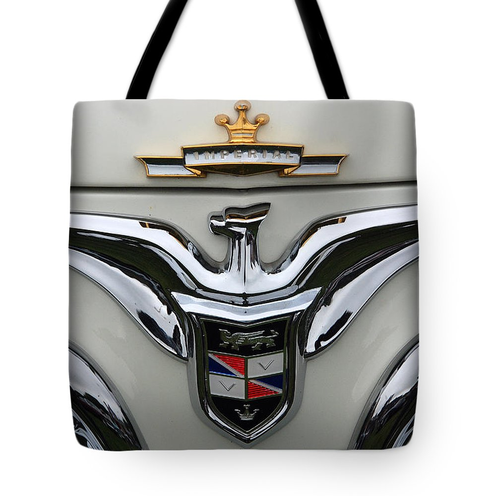 Automobiles Tote Bag featuring the photograph Marque Imperial 1955 by John Schneider