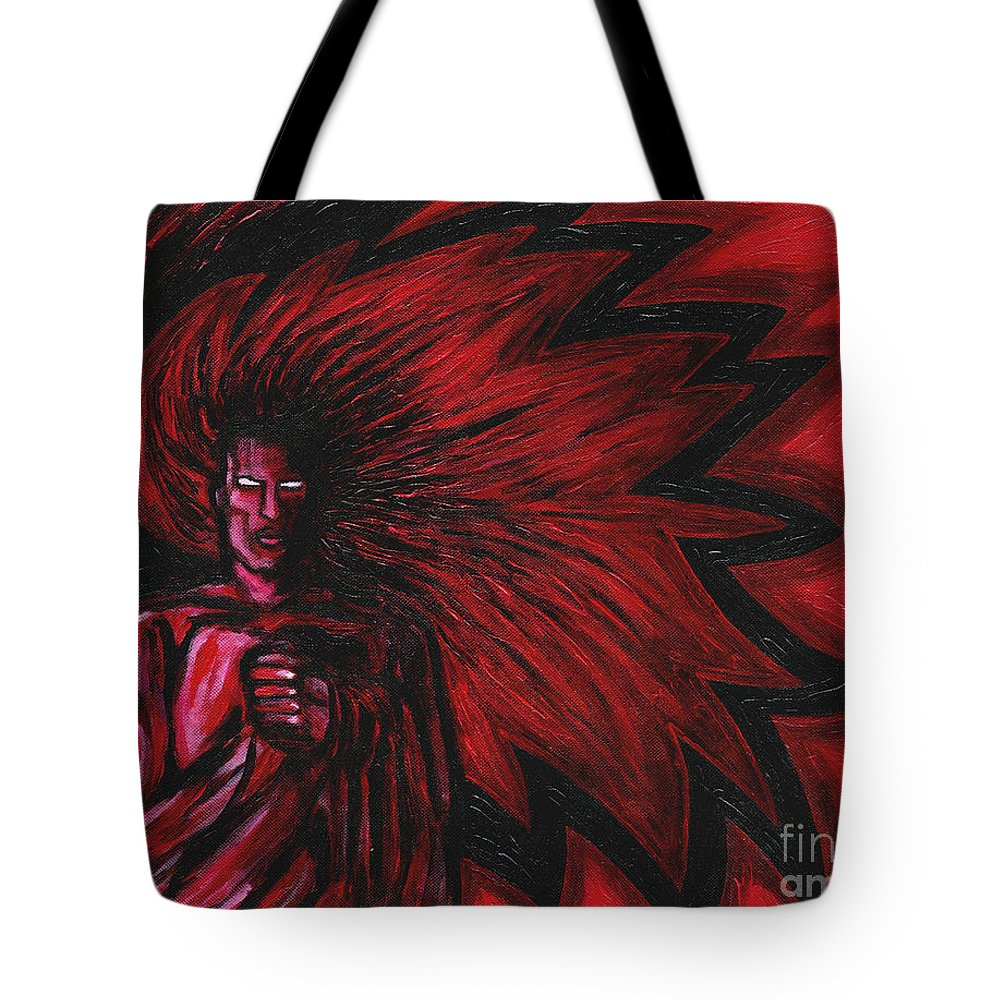 Myth Tote Bag featuring the painting Mars Rising by Roz Abellera
