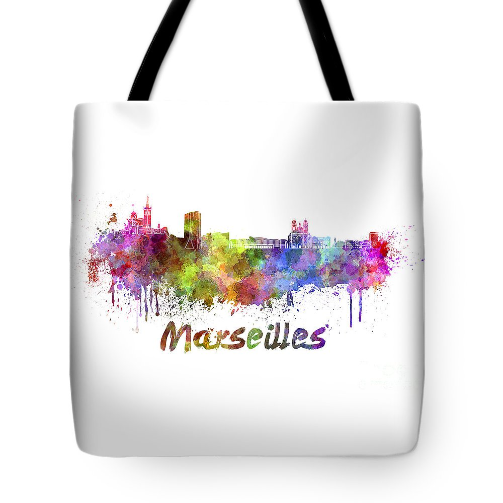 Marseilles Skyline Tote Bag featuring the painting Marseilles Skyline In Watercolor by Pablo Romero