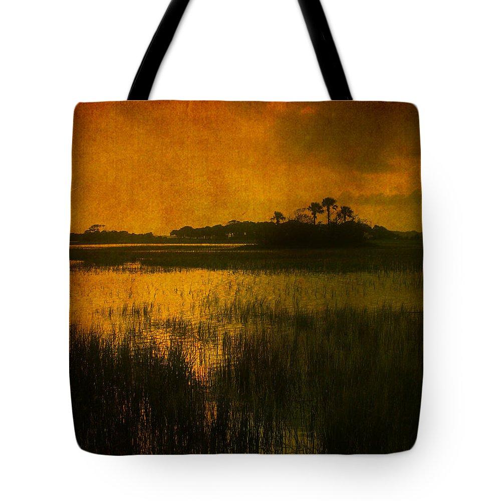 Marsh Scene Tote Bag featuring the photograph Marsh Island Sunset by Susanne Van Hulst