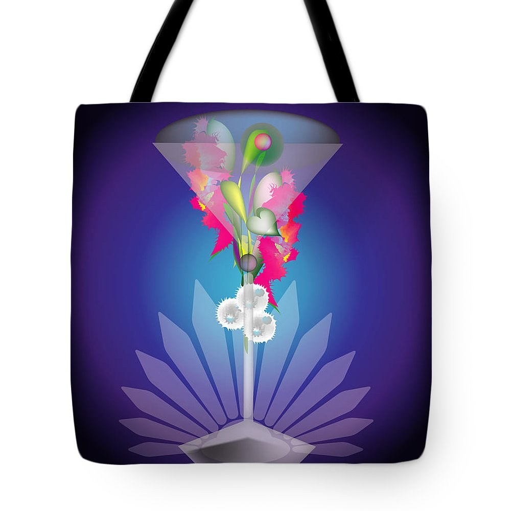 Martini Tote Bag featuring the digital art Martini Flower by George Pasini