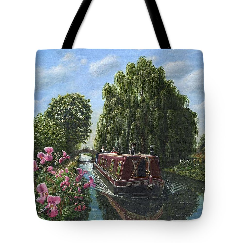 Landscape Tote Bag featuring the painting Mary Jane Chesterfield Canal Nottinghamshire by Richard Harpum