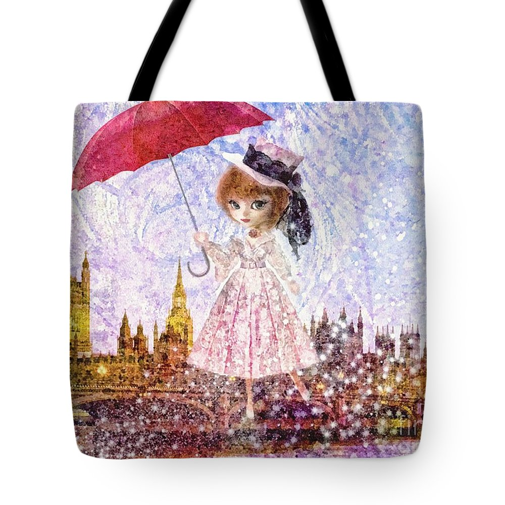 Mary Poppins Tote Bag featuring the painting Mary Poppins by Mo T