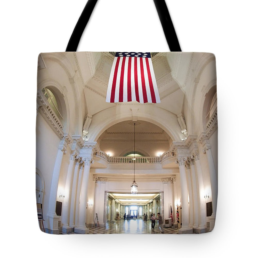 Maryland Tote Bag featuring the photograph Maryland Statehouse Interior by Frank Tozier