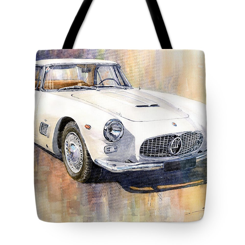 Automotive Tote Bag featuring the painting Maserati 3500GT Coupe by Yuriy Shevchuk