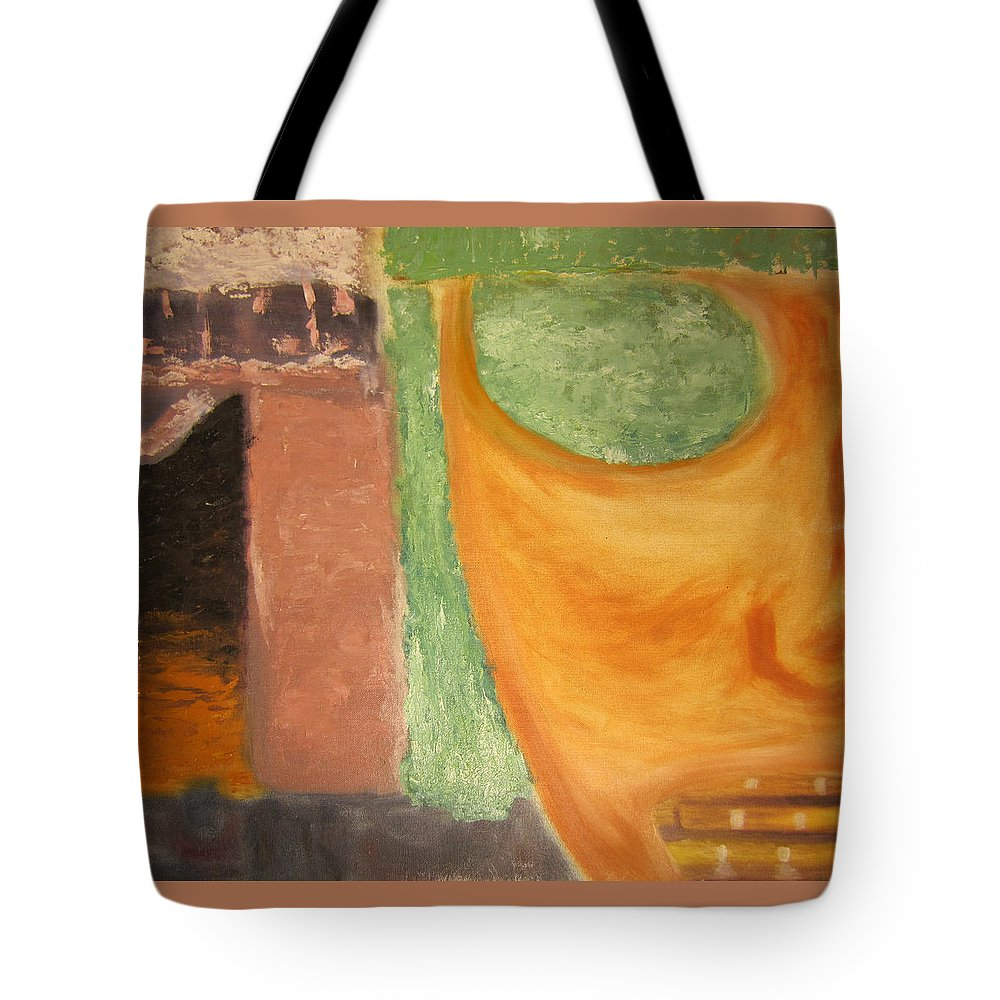 Abstract Tote Bag featuring the painting Mask by Jeffrey Oleniacz