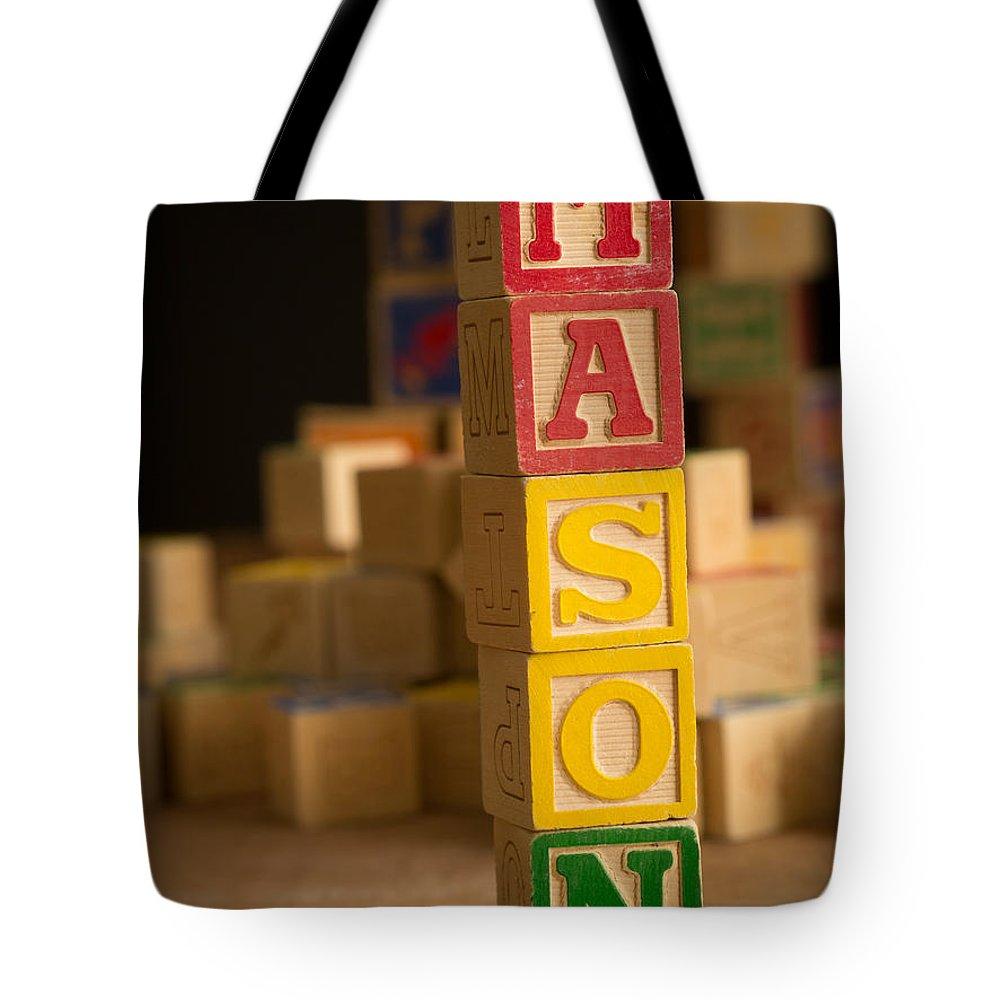 Alphabet Tote Bag featuring the photograph Mason - Alphabet Blocks by Edward Fielding