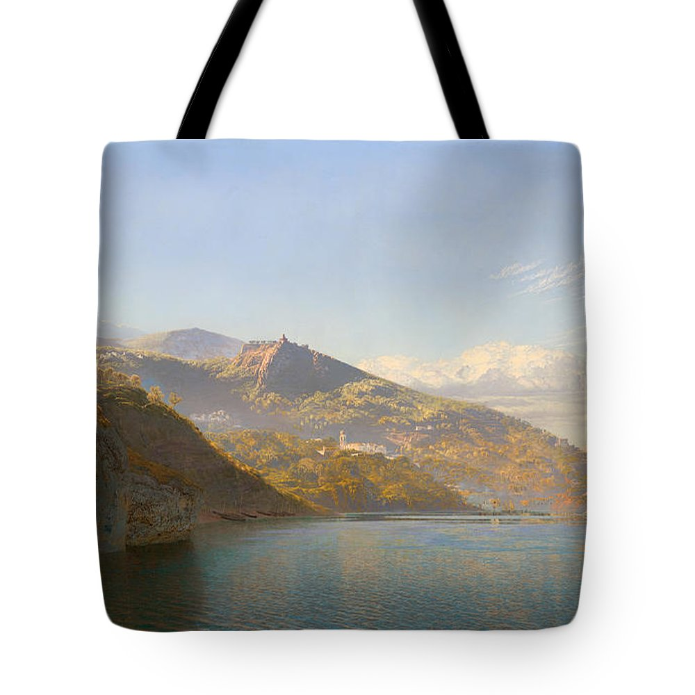 Ships Tote Bag featuring the painting Massa And Bay Of Naples by Mountain Dreams