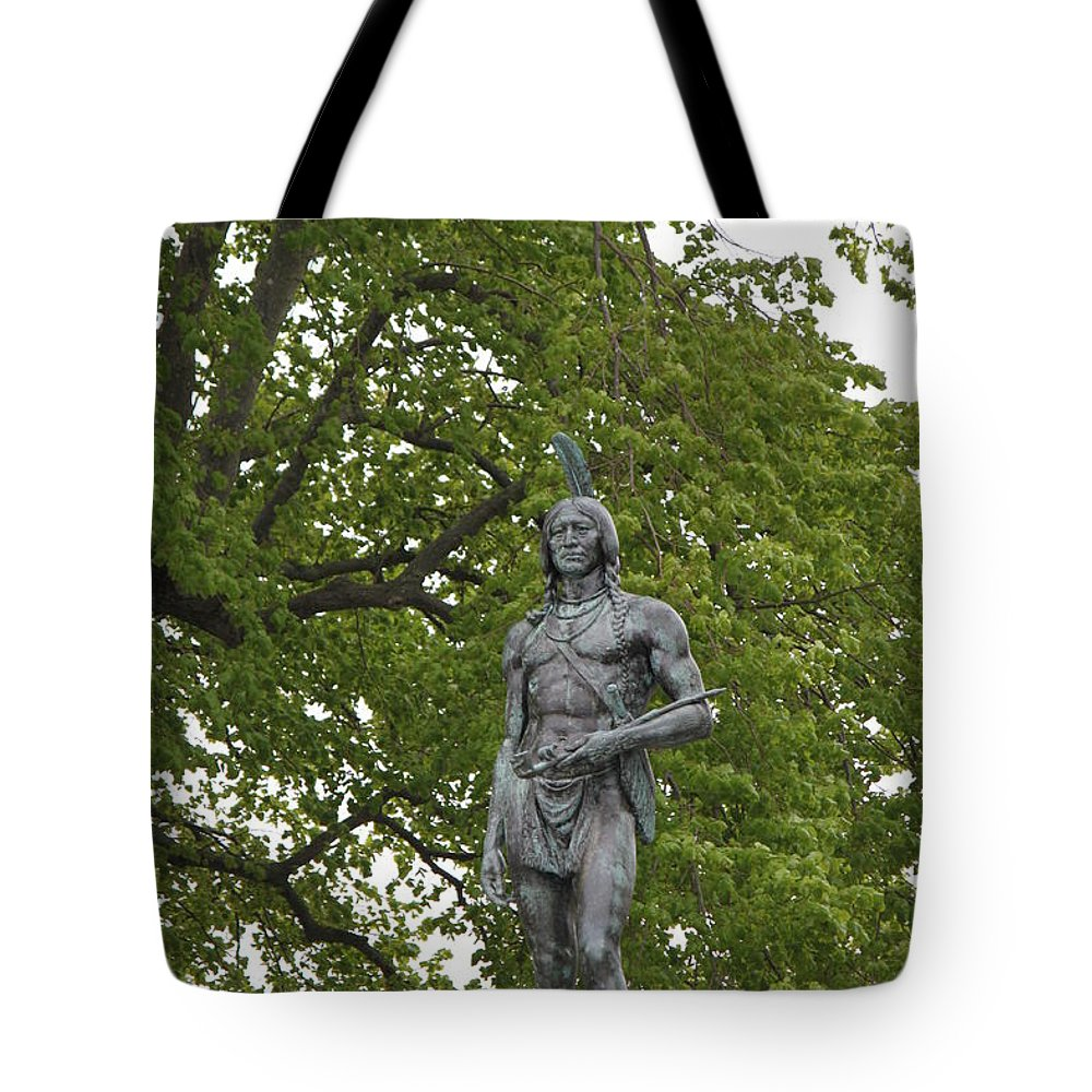 History Tote Bag featuring the photograph Massasoit Chief Of The Wampanoag Tribe by Jennifer E Doll