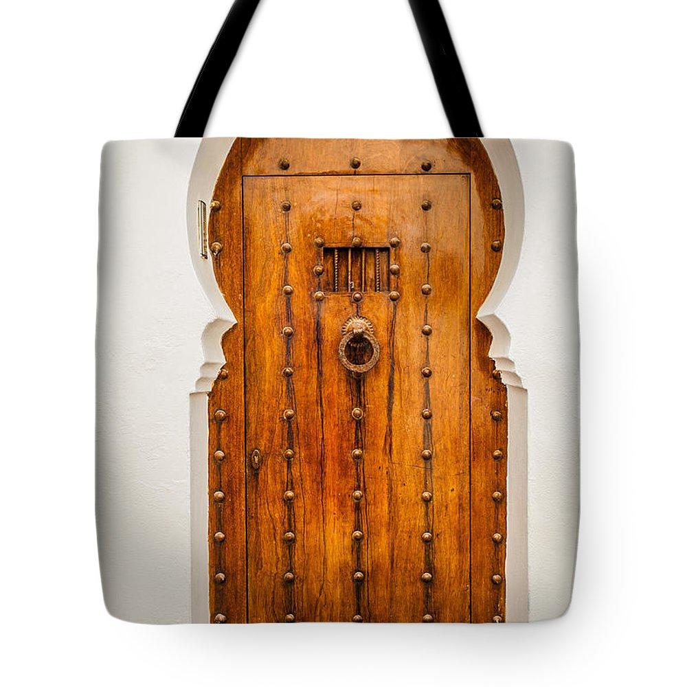 Wooden Tote Bag featuring the photograph Massive Wooden Door by Desislava Panteva