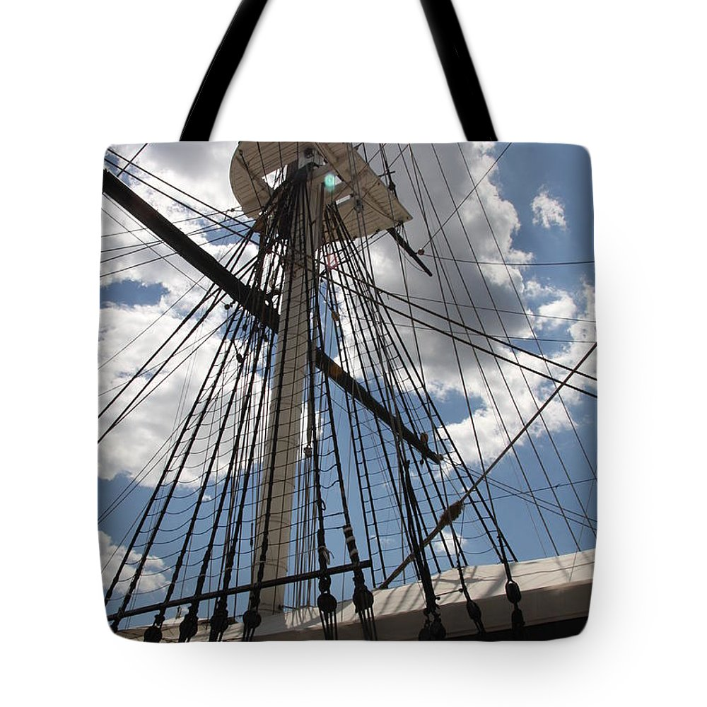 Mast Tote Bag featuring the photograph Mast And Clouds by Christiane Schulze Art And Photography