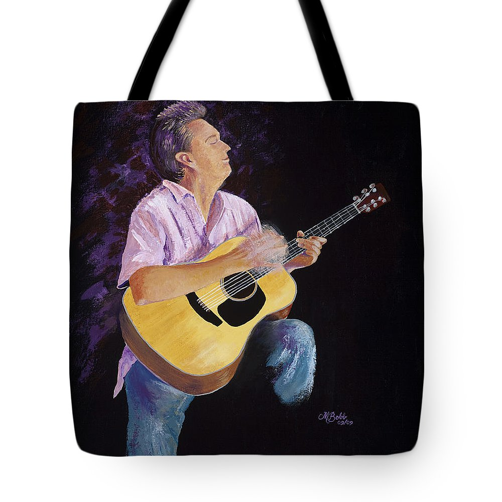 Music Tote Bag featuring the painting Master In The Spotlight by Margaret Bobb