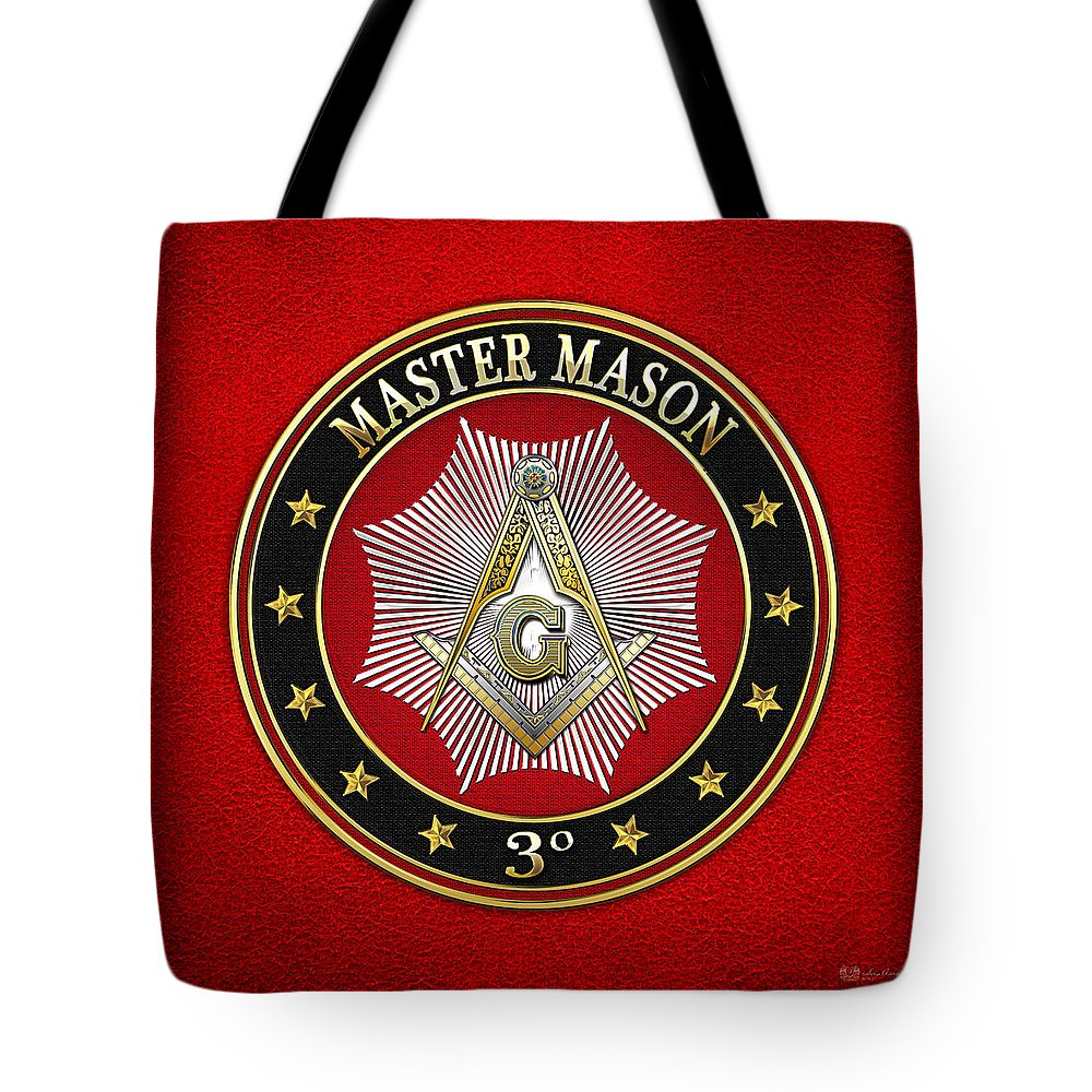 'scottish Rite' Collection By Serge Averbukh Tote Bag featuring the digital art Master Mason - 3rd Degree Square And Compasses Jewel On Red Leather by Serge Averbukh