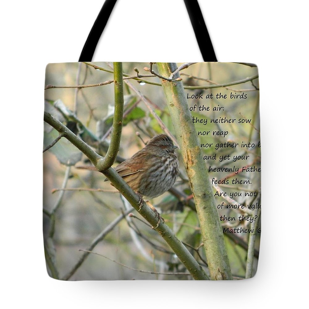Christian Tote Bag featuring the photograph Mathew 6 Vs 26 Thrush by Nicki Bennett
