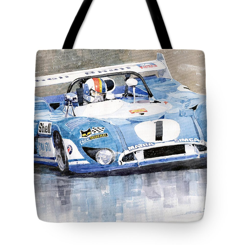 Watercolor Tote Bag featuring the painting 1973 Matra Simca 670b Francois Cevert by Yuriy Shevchuk