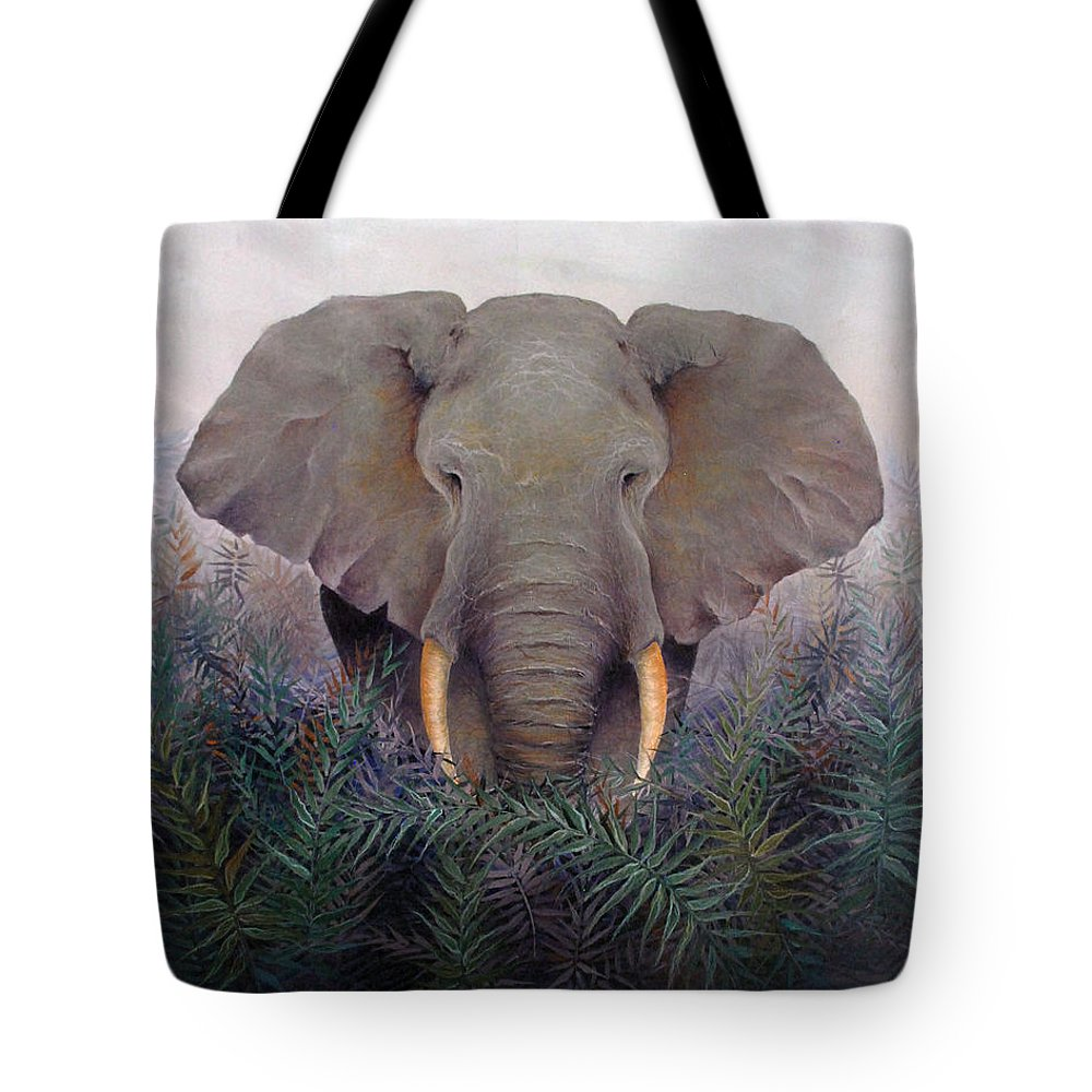 Elephant Endangered Wildlife Animals Africa Nature Tote Bag featuring the painting Matriarch by Mary Zins