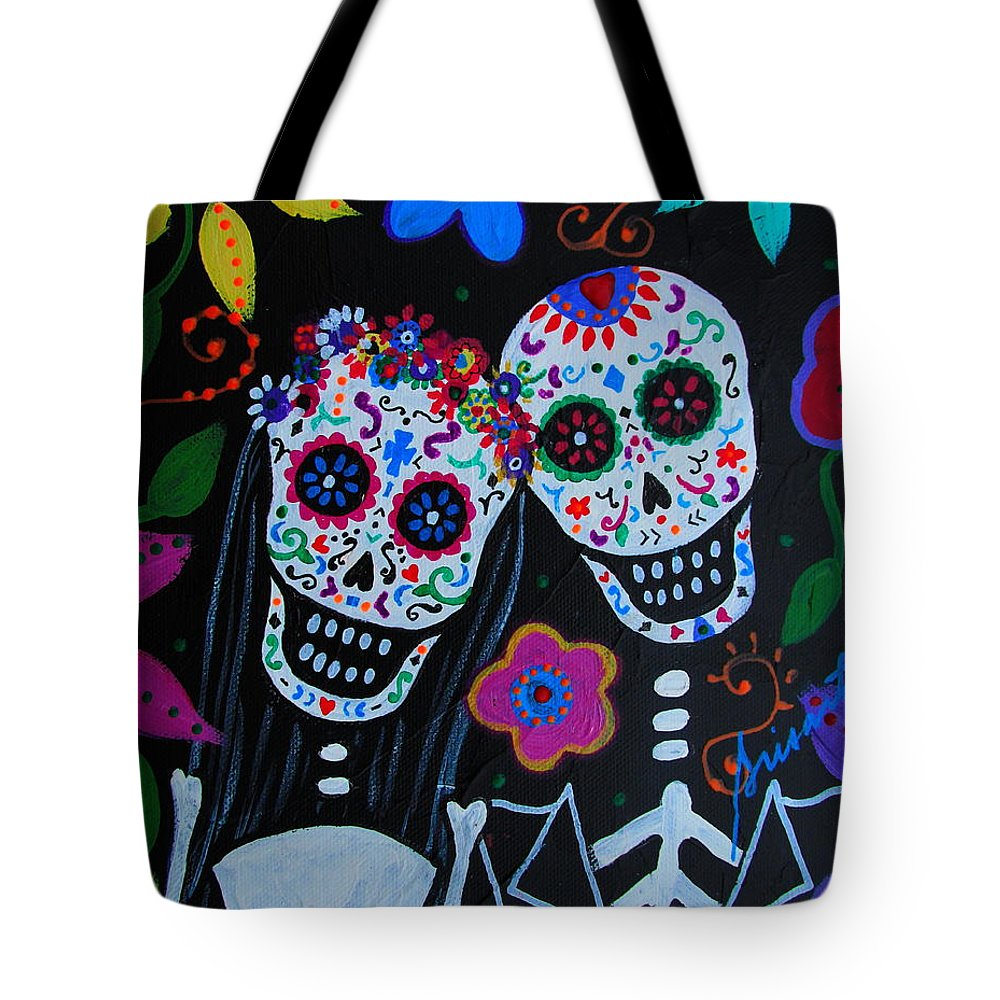 Matrimonio Tote Bag featuring the painting Matrimonio Dia De Los Muertos by Pristine Cartera Turkus