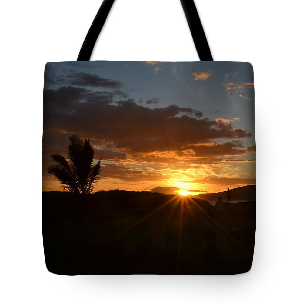 Sunset Tote Bag featuring the photograph Maui Sunset by Christine Owens