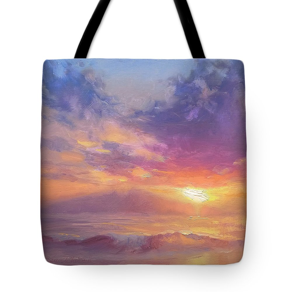 Hawaii Tote Bag featuring the painting Coastal Hawaiian Beach Sunset Landscape And Ocean Seascape by Karen Whitworth