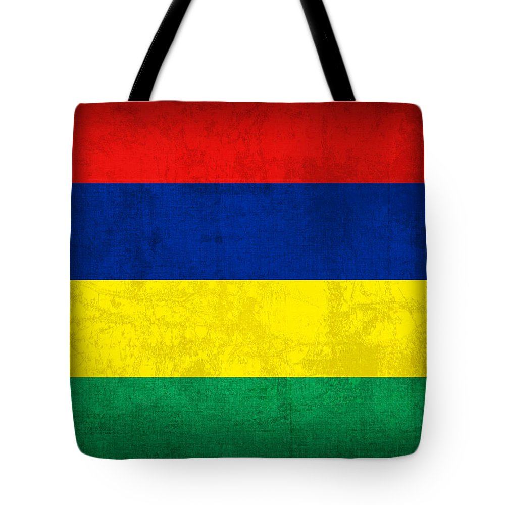 Mauritius Tote Bag featuring the mixed media Mauritius Flag Vintage Distressed Finish by Design Turnpike