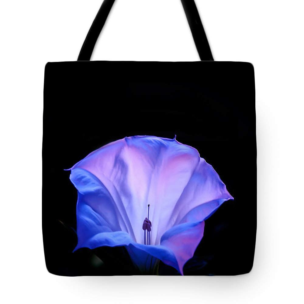 Angels Trumpet Tote Bag featuring the photograph Mauve Blue Black Angels Trumpet by Randall Branham