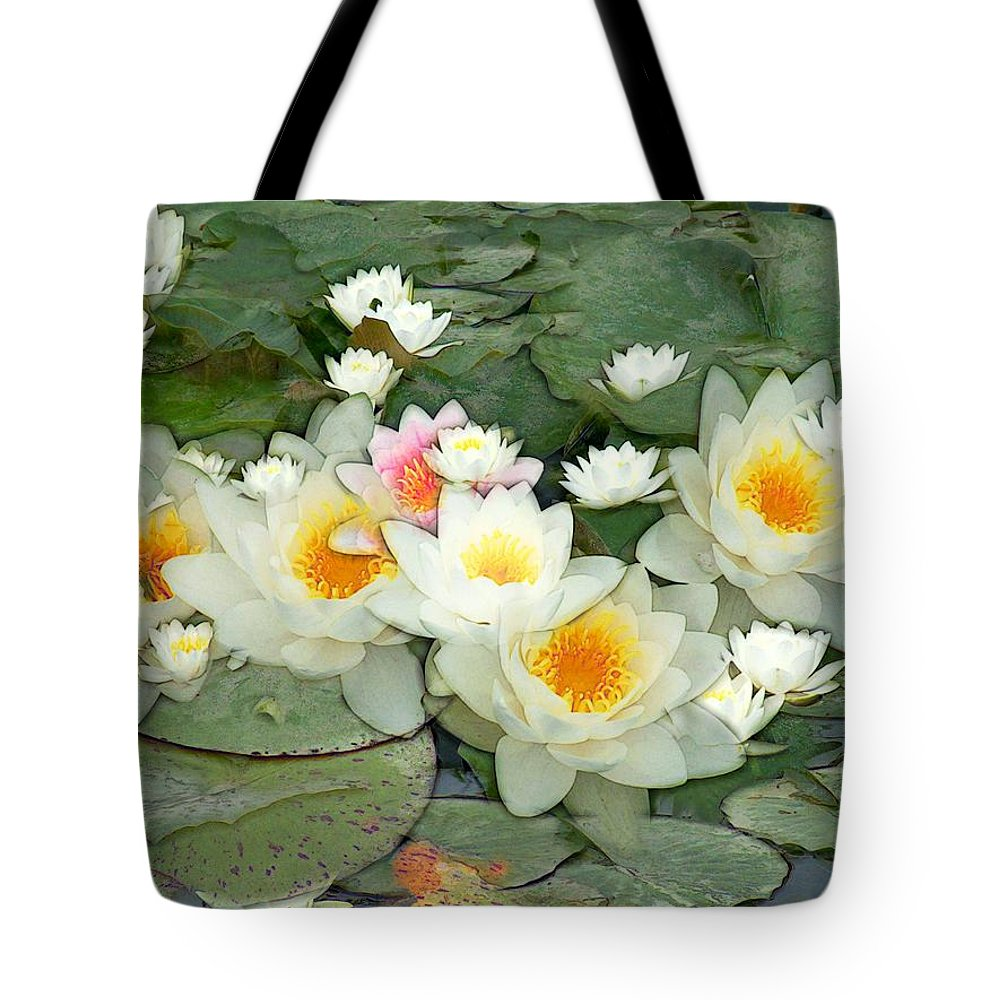 Water Lilies Tote Bag featuring the painting May Pond by RC DeWinter