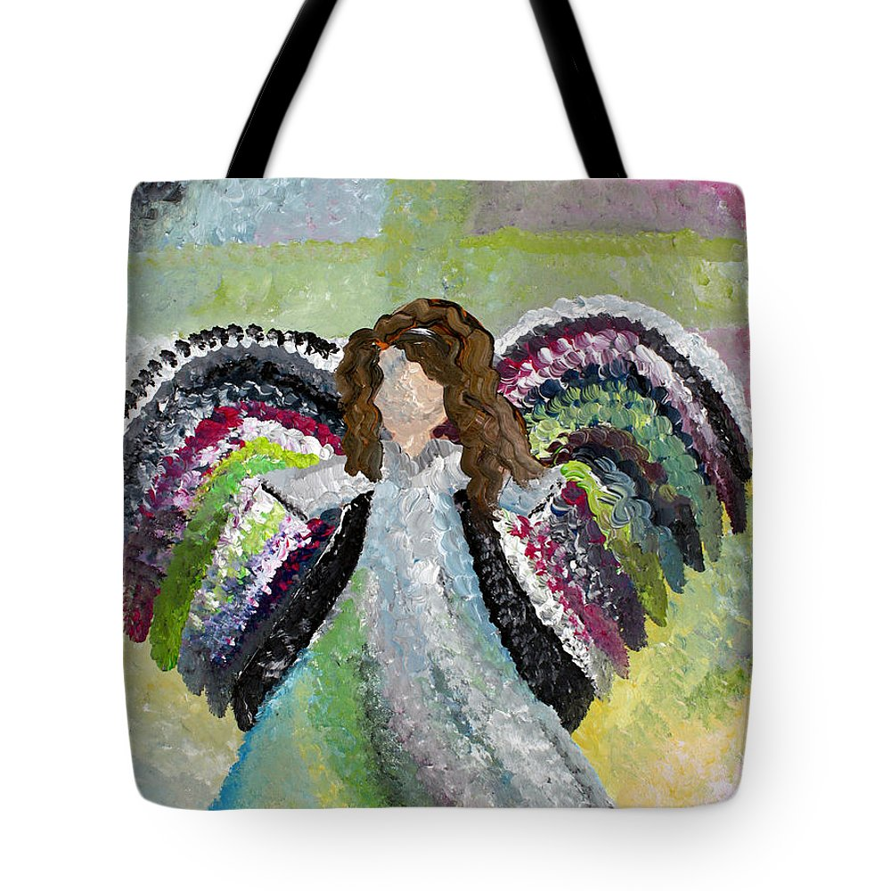 Angels Tote Bag featuring the painting May The Lord Smile Upon You by Wendy May