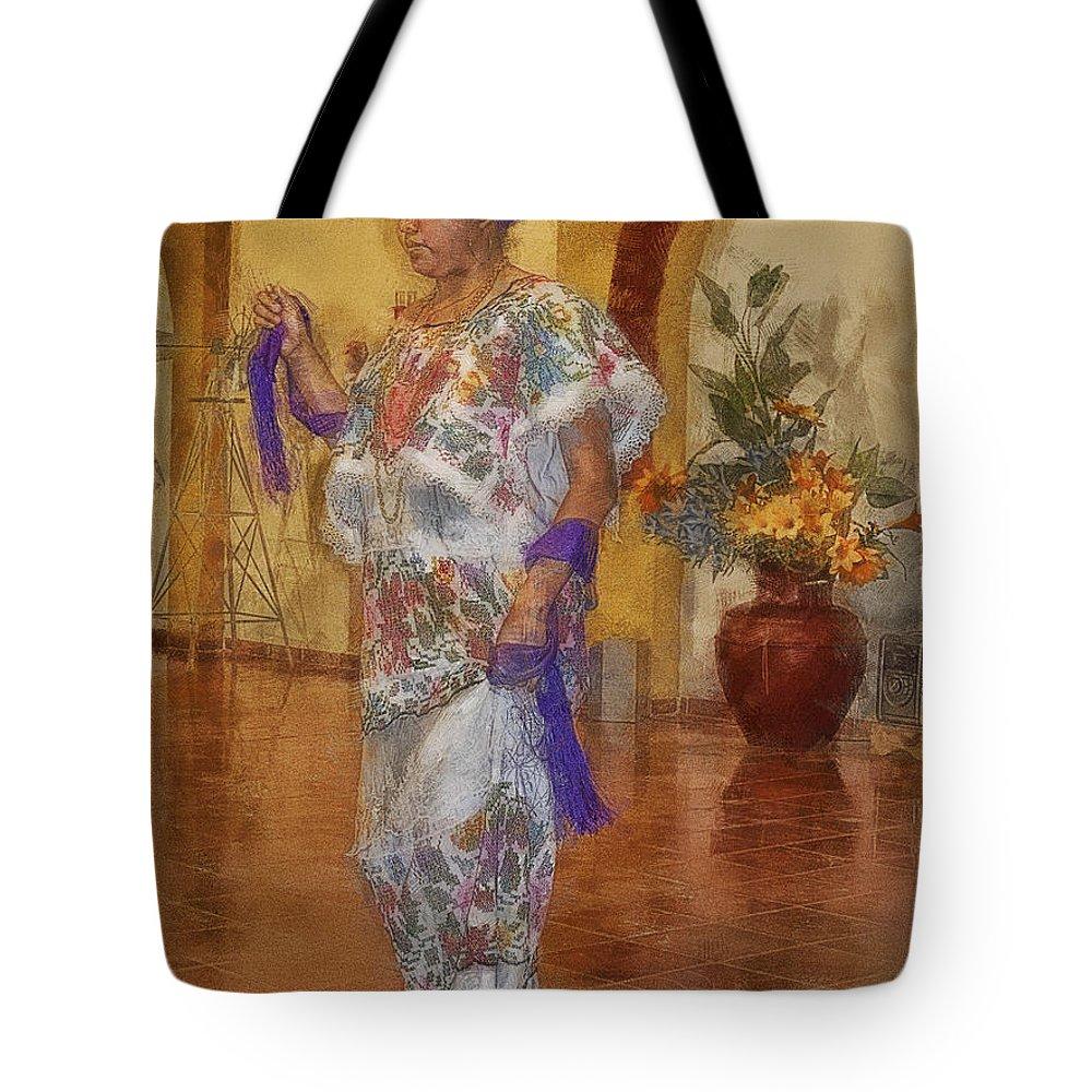 Maya Tote Bag featuring the photograph Maya Woman-mexico V2 by Douglas Barnard