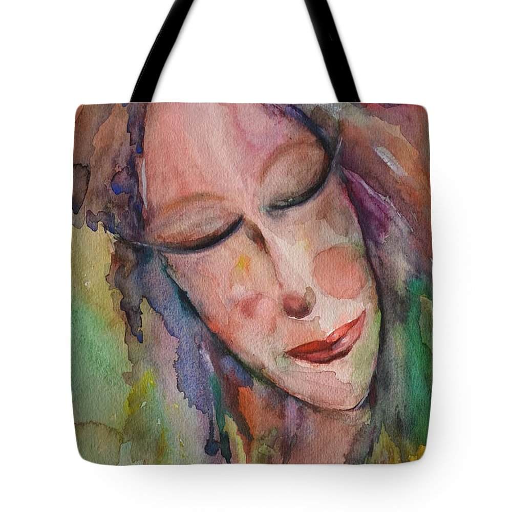 Girl Tote Bag featuring the painting Maybe Tomorrow by Mikyong Rodgers