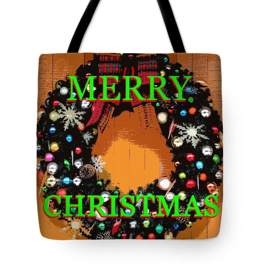 Merry Christmas Tote Bag featuring the painting Mc Work A by David Lee Thompson