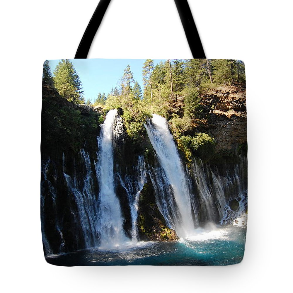 Mcarthur-burney Falls Memorial State Park Tote Bag featuring the photograph Mcarthur-burney Falls 1 by Debra Thompson
