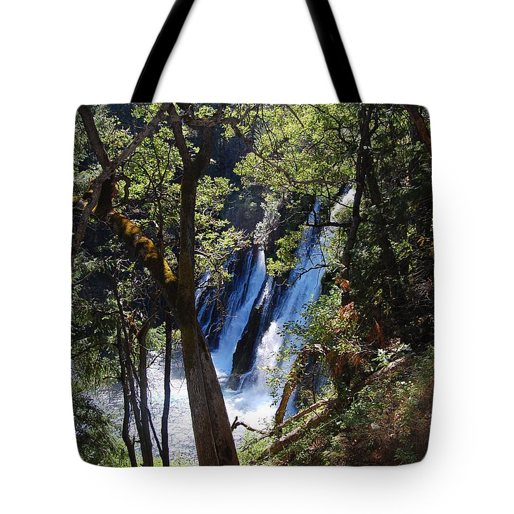 Mcarthur-burney Falls Memorial State Park Tote Bag featuring the photograph Mcarthur-burney Falls Side View by Debra Thompson