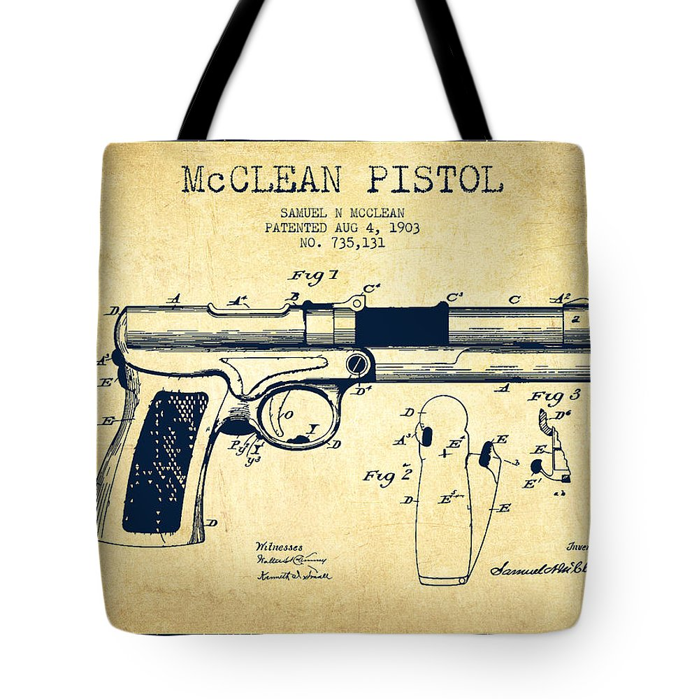 Pistol Patent Tote Bag featuring the digital art Mcclean Pistol Drawing From 1903 - Vintage by Aged Pixel