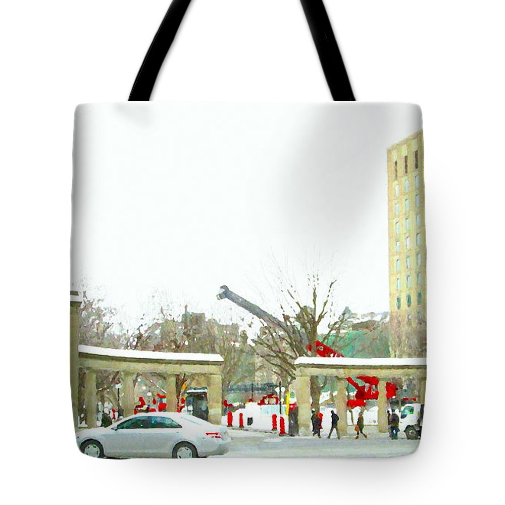 Mcgill University Tote Bag featuring the painting Mcgill Campus Student Cycles By Roddick Gates Sherbrooke St Montreal Winter Scene Carole Spandau by Carole Spandau