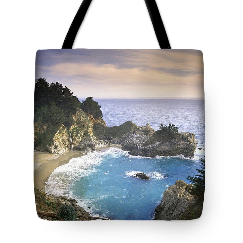 Tim Fitzharris Tote Bag featuring the photograph Mcway Cove Falls In Big Sur by Tim Fitzharris