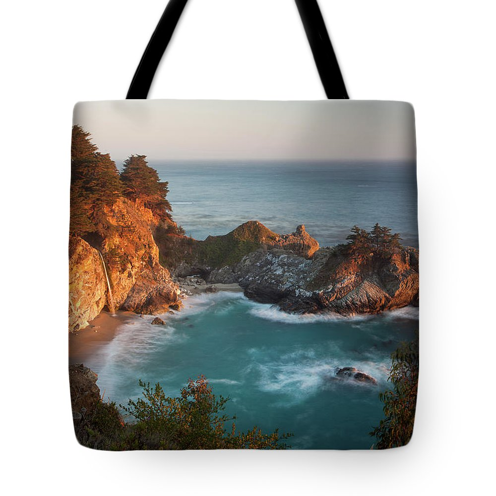 Scenics Tote Bag featuring the photograph Mcway Falls At Sunset by Sean Duan